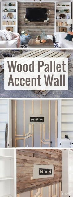 How to Create a Wood Pallet Accent Wall. Drastically change the look and feel of your living room with a beautiful wood pallet accent wall. Using pallets makes this home makeover so inexpensive and easy to DIY! Pallet Accent Wall, Accent Walls, Pallet Walls, Pallet Tv, Pallet Stairs, Pallet Wall Decor, Pallet Wall Shelves, Diy Wood Wall, Wall Shelving