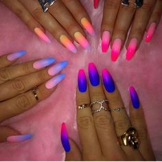 Nail art is a very popular trend these days and every woman you meet seems to have beautiful nails. It used to be that women would just go get a manicure or pedicure to get their nails trimmed and shaped with just a few coats of plain nail polish. Ombre Nail Designs, Acrylic Nail Designs, Nail Art Designs, Nails Design, Colorful Nail Designs, Ombre Nail Art, Neon Nail Art, Summer Acrylic Nails, Best Acrylic Nails