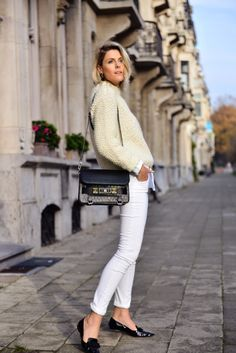 I'm wearing: -Lala Berlin sweater -Amator white shirt  -J Brand jeans  ( All available at ENES) -Jimmy Choo shoes ( via Mayke) -Proenza Schouler bag -Souvenirs de Pomme bracelets and earrings  -Nails: Silk Cocoon with a touch of Season's greetings Shirley! by Faby