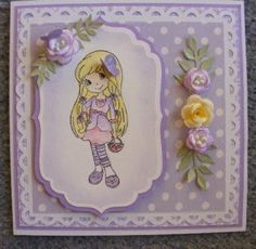 Some more Digi stamp that I madeto give a my neice at some stage.  I got the digi stamp from bodil's scrappeverden .  The wee mauve cu...