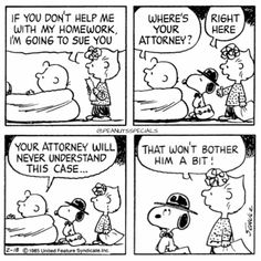 First Appearance: February 18th, 1985 #peanutsspecials #ps #pnts #schulz #snoopy #charliebrown #sally #homework #sue #attorney #never #understand #case www.peanutsspecials.com