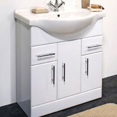 Bathroom basin cabinet made of water resistant grade A MDF Freestanding Vanity Unit, Basin Vanity Unit, Basin Unit, Bathroom Basin Cabinet, Bathroom Vanity Units, White Vanity Bathroom, Bathroom Furniture Uk, Big Bathrooms, Storage Spaces