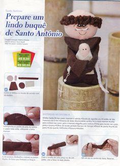 Boneco Santo Antonio de Feltro para Bouquet (Passo a Passo)