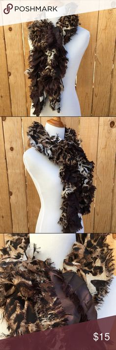 "🆕🎁 Tiger Design Ruffle Scarf Chocolate Dress up your special outfit with this Tiger design ruffle scarf. It is approximately 5"" by 53"" long. Content is 100% Polyester. New with Tags NWT In excellent new condition. Taleen Individual Style Accessories Scarves & Wraps"