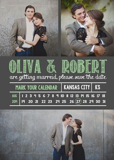 DIY Printable Custom Chalkboard Save the Date in Mint Green!