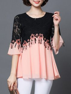 Where to buy lace blouse? NewChic offer quality lace blouse at wholesale prices. Shop cool personalized lace blouse with unbelievable discounts. Half Sleeve Women, Half Sleeves, Short Sleeves, Fall Fashion Trends, Autumn Fashion, Womens Trendy Tops, Monochrom, Embroidered Blouse, Plus Size Blouses