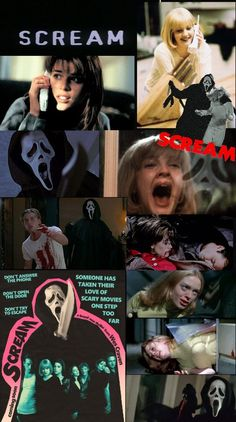 Scary Movie 1, Scary Movie Characters, Scary Wallpaper, Halloween Wallpaper Iphone, Classic Horror Movies, Iconic Movies, Scream Movie, Scream 1, Movie Collage