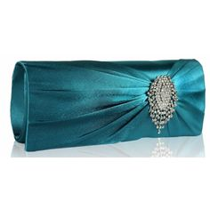 Belle Luxury Satin Clutch Handbag - Teal Also in Purple, Navy, Black, Ivory and Silver http://www.happyweddingday.co.uk/collections/bags/products/belle-luxury-satin-clutch-handbag