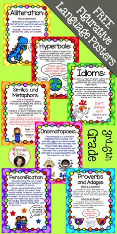 "FREE Figurative Language Poster Set for figures of speech lessons and activities!  This easy to use, FREE poster set includes Alliteration, Hyperboles, Idioms, Proverbs and Adages, Personification, Onomatopoeia, Similes and Metaphors, and Puns.  Each poster includes a brief description of the figure of speech for students.  You can also check out the ""sister"" figurative language product that is common core aligned and includes instructional pages as well as task cards and printables."