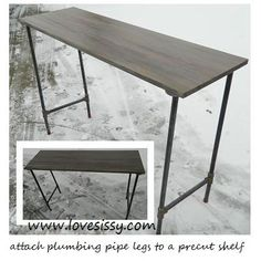 console height table made with wood plank top & plumbing pipe legs. Use flanges attached to bottom of wood plank (this is a pre cut shelf) & screw lengths of pipe + connectors in to get desired height & look.  http://www.lovesissy.com/4/post/2012/11/how-to-reclaimed-wood-pipe-leg-tables.html