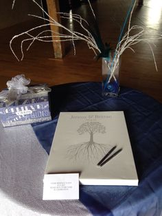 Rootwik Wedding Tree Canvas | Guest Book Alternative | Rustic Wedding | Customer Photo | Wedding Colors - Blue & Gray | peachwik.com