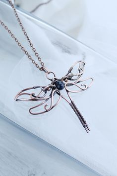 Copper pendant Dragonfly with sapphire and moonstone ooak