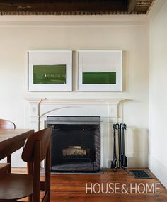 """The mantel in the dining room was likely added in the 1950s, when the house was """"modernized"""" with drop plaster ceilings and new bathrooms. 