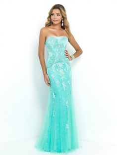 Luxurious Turquoise Sequin Long Formal Dress Strapless Open Slit ...