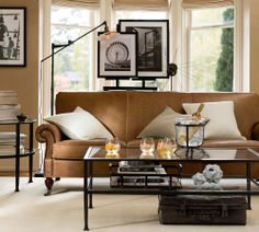 Good use of B&W with brown couch