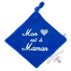 Doudou attache sucette bleu Mon coeur est à Maman
