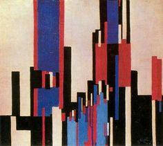 Frantisek Kupka - Planos verticales azules y rojos, 1913