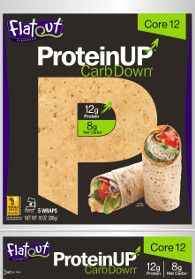 Flatout ProteinUP CarbDown Flatbreads - These flatbreads have 12 grams of protein each - as much as 2 eggs + a good dose of fiber and only 8 - 10g net (a.k.a. digestible) carbs. Available in Sea Salt & Crushed Black Pepper, Red Pepper Hummus, and Core 12, each flatbread has 130 calories, 2 - 2.5g fat, 290 - 300mg sodium, 17 - 18g carbs, 8 - 10g fiber, <1g sugars, and 12g protein. Thumbs up!