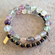 Cleansing and Soothing, Fluorite and Onyx 27 bead wrap mala bracelet – Lovepray jewelry