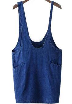Straps With Pockets Denim Shift Dress
