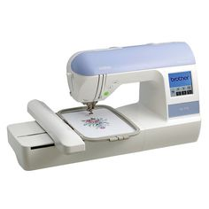 Embroider custom designs with high-tech features using this Brother embroidery machine. A built-in embroidery card slot gives you access to embroidery designs by Brother, or import your own designs fr