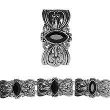 Bead Gallery Metal Slider, Black Rhinestone Rectangle Close Up