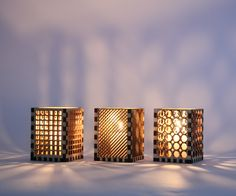 Inspired by those awesome Moroccan cutout lanterns, I made a set of three laser cut candle holders, perfect for small votive candles or tea lights. All the laser cutting for the project was done at TechShop SF.