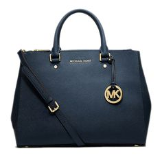 Perfect Michael Kors Sutton Saffiano Leather Large Navy Satchels, Perfect You