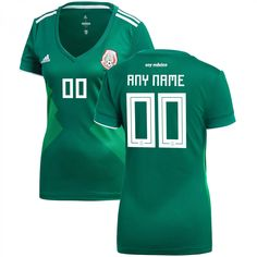 Mexico National Team Women s 2018-2019 Home Custom Jersey â   Green 07ba7ef88