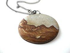 Vintage Stone Cameo Necklace  Desert Landscape by SurLhistoire, $35.00
