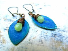 long earrings Blue Green Patina wire wrap Bohemian earrings.