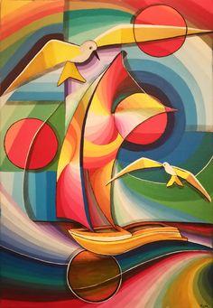 Magical Paintings, Modern Art Paintings, Cubist Art, Boat Painting, Abstract Wall Art, Abstract Landscape, Geometric Art, Pop Art, Illustration Art