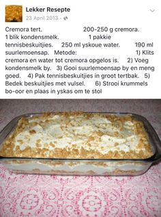Cremora tert – World Food Easy Desserts, Delicious Desserts, Dessert Recipes, Yummy Food, Tart Recipes, Baking Recipes, Halal Recipes, Yummy Recipes, Kos