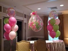 Baby Girl Bubble Bouquets & a Shower Balloon (Balloon stuffed with little balloons & a Teddy Bear)