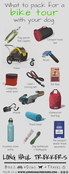 The complete gear list for biking with a dog. This includes everything you need for your next cycle tour with your pup. & Long Haul Trekkers The post What to Pack for a Bike Tour with Your Dog appeared first on Trendy. Online Pet Supplies, Dog Supplies, Idaho, Dog Toothpaste, Biking With Dog, Dog Friendly Hotels, Travel Brushes, Hiking Dogs, Hiking Trips