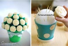 "Saw this on @Lisa Wuertz FB timeline. Very creative idea for something I can't eat.  Lol. Insert toothpicks at 45* angle or cupcakes may fall off.  Styrofoam ball has a 5 inch diameter and holds 10 cupcakes. Cut green tissue paper into strips, fold accordion style and place it in between the cupcake ""flowers"" to give the illusion of leaves."