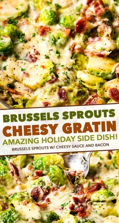 ) - The Chunky Chef Crisp tender brussels sprouts baked in a rich and creamy cheese sauce, and topped with crispy bacon. This is the perfect holiday side dish recipe! Holiday Side Dishes, Best Side Dishes, Vegetable Side Dishes, Baked Brussel Sprouts, Brussels Sprouts, Bacon Recipes, Side Dish Recipes, Keto Veggie Recipes, Healthy Recipes