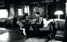 historicaltimes:  George Harrison with Bob Dylan: Woodstock, late 1968. Just before George's return for the 'Let it Be' sessions via reddit