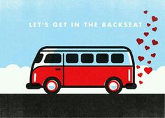 Let's Get in the Backseat...Valentine's Day love art hearts art with VW Camper Van Khombi.