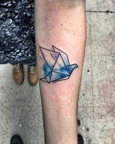 Watercolor Origami Tattoo Idea
