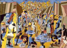 Jacob Lawrence - 'Street to Mbari' - 1964
