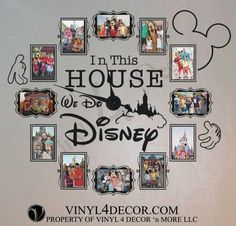 Excited to share this item from my shop: In this house we do disney 4 x 6 or 5 x 7 photo clock with working clock parts/hands decal large wall decal clock VINYL FRAMES Disney Diy, Casa Disney, Deco Disney, Disney Home Decor, Disney Crafts, Disney Wall Decor, Disney Playroom, Disney Kitchen Decor, Disney Stuff