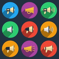 Megaphone icons set. Color pictogram, loudspeaker and audio, broadcasting and speaker for SMM and UI, vector illustration