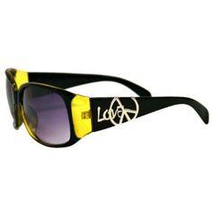 Olive Green Love & Peace Acrylic Sunglasses Luxury Divas. $9.99