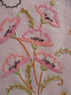 Delicate Poppies Vintage Hand Embroidered Centrepiece MAT | eBay