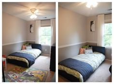 Top wall color - Filtered Shade in satin by Valspar, Bottom wall color - Rocky Bluffs in semi gloss by Valspar