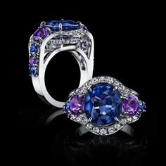 Robert Procop Exceptional Jewels - A Rare 9ct Color Change Sapphire Ring. Extremely rare is a sapphire certified as a natural color change sapphire.  This spectacular violet-blue to purple sapphire weighs a magnificent 9cts.  Accenting the unique color properties of the sapphire are amethyst and sapphires with a spray of white diamonds all set in handcrafted platinum.