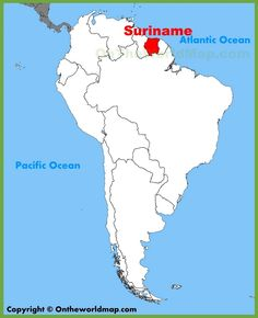 Suriname Location On The South America Map Maps Pinterest - paramaribo map