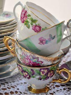 Antique tea cups at a tea party!