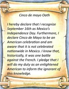 Cinco de Mayo Pledge via http://spanishplans.org/2012/05/04/cinco-de-mayo-pledge/